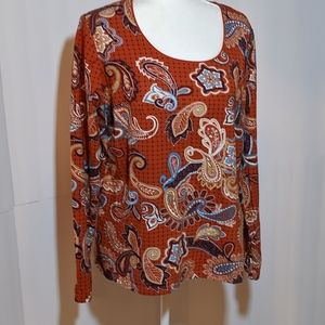 Kim Rogers Paisley Patterned Top XL
